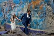 Bruidspaar en graffity