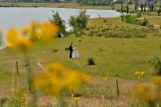 Bruidspaar in een veld
